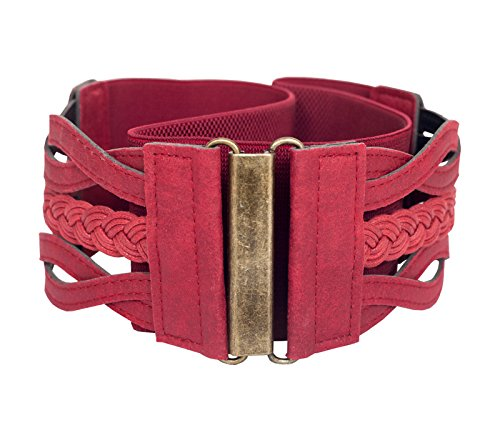 eVogues Plus Size Braided Elastic Leatherette Fashion Belt Wine - One Size Plus - Belt Wine