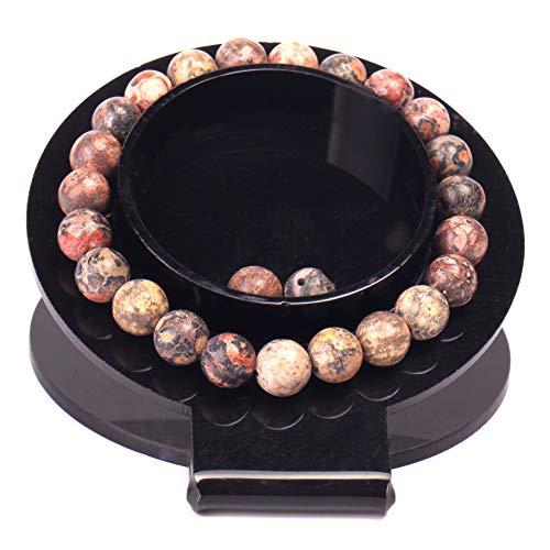 "Handmade Gem Semi Precious Gemstone Bracelets Natural Stones Healing Power Crystal Elastic 8mm Ball Beads Stretch Beaded Bracelet 7"" Unisex (Leopard Skin)"