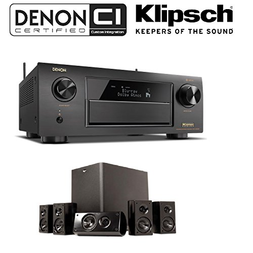 Price comparison product image Denon Receiver Audio & Video Component Receiver, Black (AVRX6300H) + Klipsch HD 300 Compact 5.1 High Definition Theater System (Set of Six,  Black) Bundle