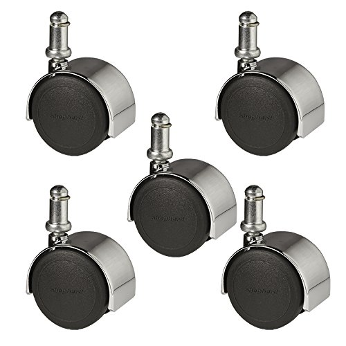 2'' Hardwood Floor Safe Office Chair Caster - Twin Wheel Bright Chrome Finish - Set of 5 by Shepherd