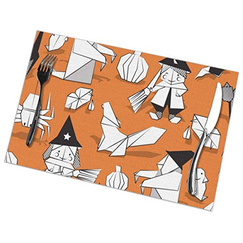prrey Placemats Set of 6 Halloween Origami Tricks Orange Background Black and White Paper Geometric Witches Wolfs Bats Dracula Lips and Pumpkins_1400 Heat Resistant Kitchen Table Mats -