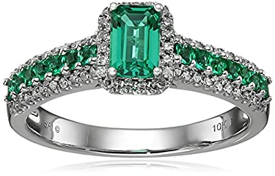 10k White Gold, Created Emerald, and Diamond Ring, Size 7 (1/5 cttw, H-I Color, I1-I2 Clarity)