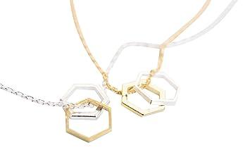 abierto diseño 2 de dj hexágonos necklace de hexagonal colgante TUUdwpqFxZ
