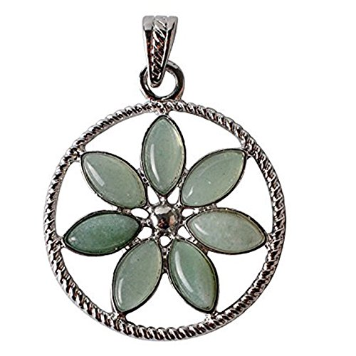 Flowers Jade Necklace (JOYA GIFT Natural 7 Chakra Oval Aventurine beads Alloy Crystal Reiki Pendant Nacklace)