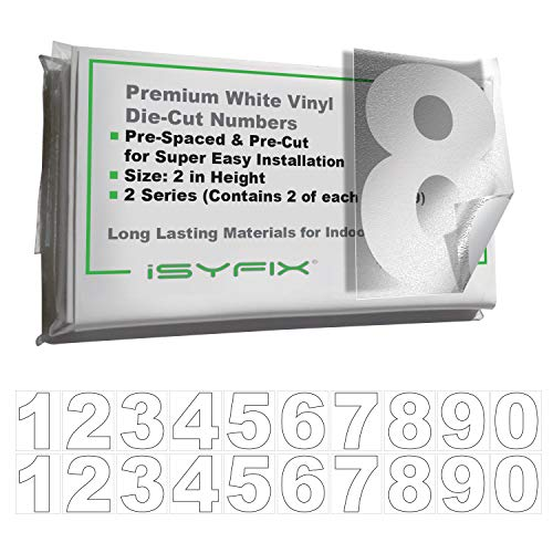 White Vinyl Numbers Stickers - 2 Inch Self Adhesive - 2 Sets - Premium Decal Die Cut and Pre-Spaced for Mailbox, Signs, Window, Door, Cars, Trucks, Home, Business, Address Number, - Number 2 Inch