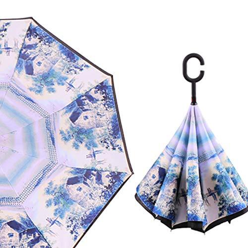 Windproof C-Type Folding Reverse Umbrella Hands-Free Rain/Sun Women/Men Outdoor Double Layer Inverted Zizihua,Water ()