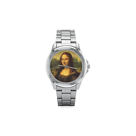 Mona Lisa de Leonardo da Vinci famoso pintura Unisex acero inoxidable reloj, reloj cara diámetro