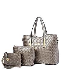 Tibes Fashion PU Leather Women Handbag+Shoulder Bag+Purse 3pcs Bag Weave Tote