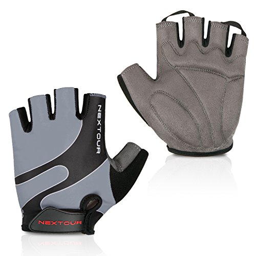 NEXTOUR Cycling Gloves Mountain Bike Gloves Half Finger Road Racing Riding Gloves with Light Silicone Anti-slip Shock-absorbing Gel Pad Biking Gloves for Men and Women (01-Gray, XL)