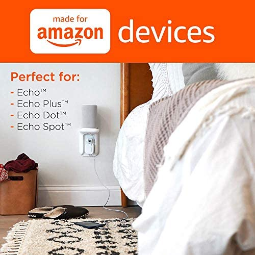 Echogear Outlet Shelf For Amazon Echo, Echo Dot, & Other Devices Up To 10lbs - Built-In Cable Management Channel Plus Easy Install Over Existing Outlets - Certified Made For Amazon Echo Accessory 4