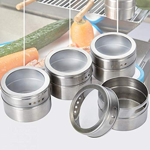 Salt Pigs - 6 12pcs Magnetic Spice Tins Stainless Steel Jar Set Clear Lid Pepper Shakers Salt Seasoning Sprays - Pigs Salt Cellars Servers Spoon Salt Pigs Cellars Servers Pepper Aluminum Classic