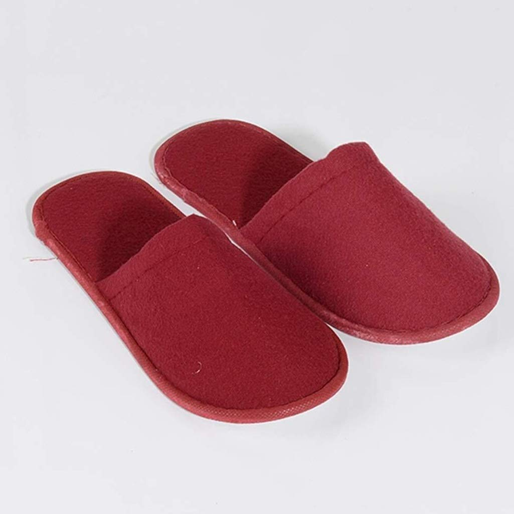 LBWT Hotel Guests Disposable Slippers - Thicken Non-Slip 20 Pairs Cotton Slippers Home Travel Beauty Salon Club Party (Color : Red) by LBWT