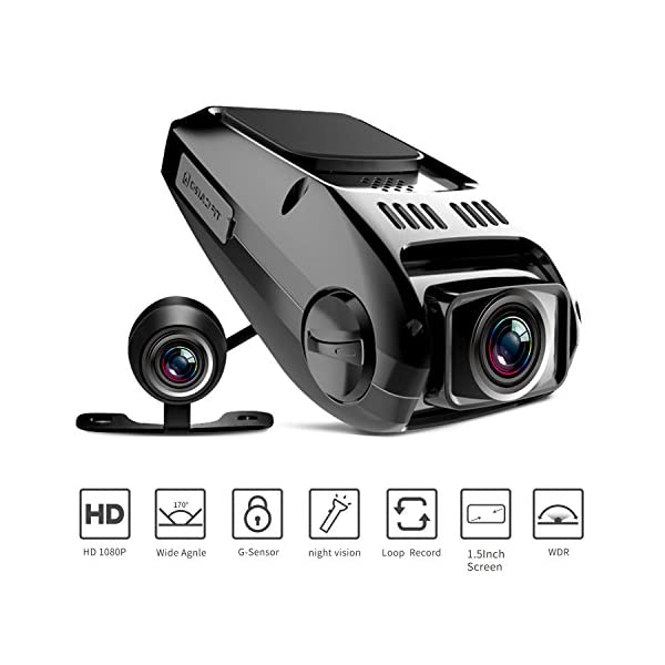 Dual Dash Cam, Tryace T8P Front And Rear Dual Lens In Car Camera Recorder HD 1080P Dashboard Camera Recorder 170° Wide Angle G Sensor,WDR,Loop Recording,Super Night Vision,1 Port Car Charger
