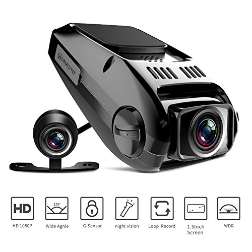 Dual Dash Cam, Tryace T8P Full HD1080P 170 Degree Wide Angle Dashboard Camera Recorder with G-Sensor,WDR,Loop Recording,Super Night Vision Front and Rear Car Dash (Night Vision Cameras Cars)