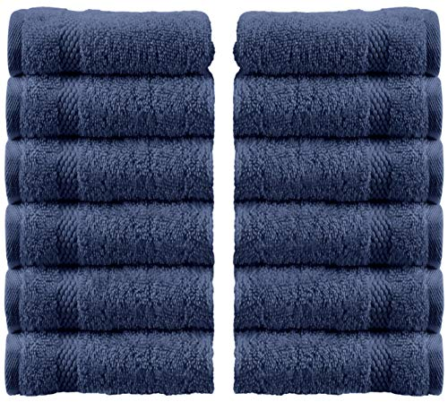 White Classic Luxury Washcloths for Bathroom-Hotel-Spa-Kitchen-Set - Circlet Egyptian Cotton - Highly Absorbent Hotel Quality Face Towels - Bulk Set of 12-13x13 Inch (Navy Blue)