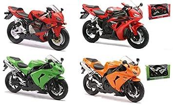 New Ray 42443 I - Motocicleta Kawasaki ZX 10 R / HONDA CBR, Vehículo en miniatura, escala 1:12, Modelos surtidos