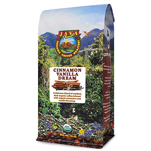 Java Planet - Cinnamon and Vanilla Organic Coffee Beans infused with Organic Flavoring, Fair Trade, Medium Dark Roast, Arabica Gourmet Coffee Grade A, packaged in 1 LB bag