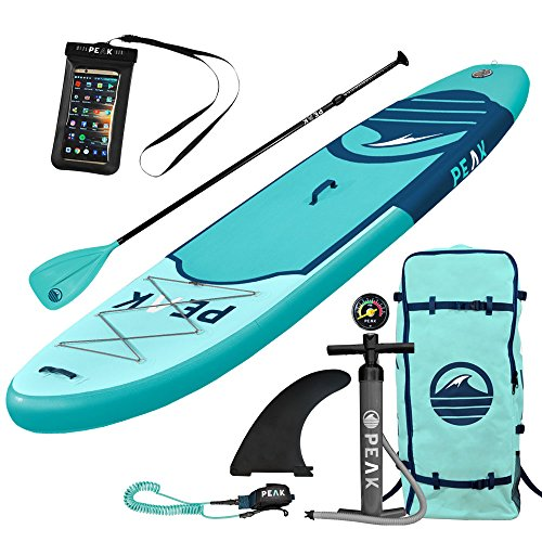 Isle Surf And Sup Peak Inflatable 106 Stand Up Paddle Board Complete Package  6  Thick    Includes Adjustable Paddle  Travel Backpack  Coil Leash  Aqua   2018