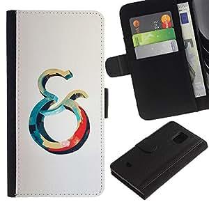 KingStore / Leather Etui en cuir / Samsung Galaxy S5 Mini, SM-G800 / Y Océano Azul Rojo Ballena Gris Amarillo