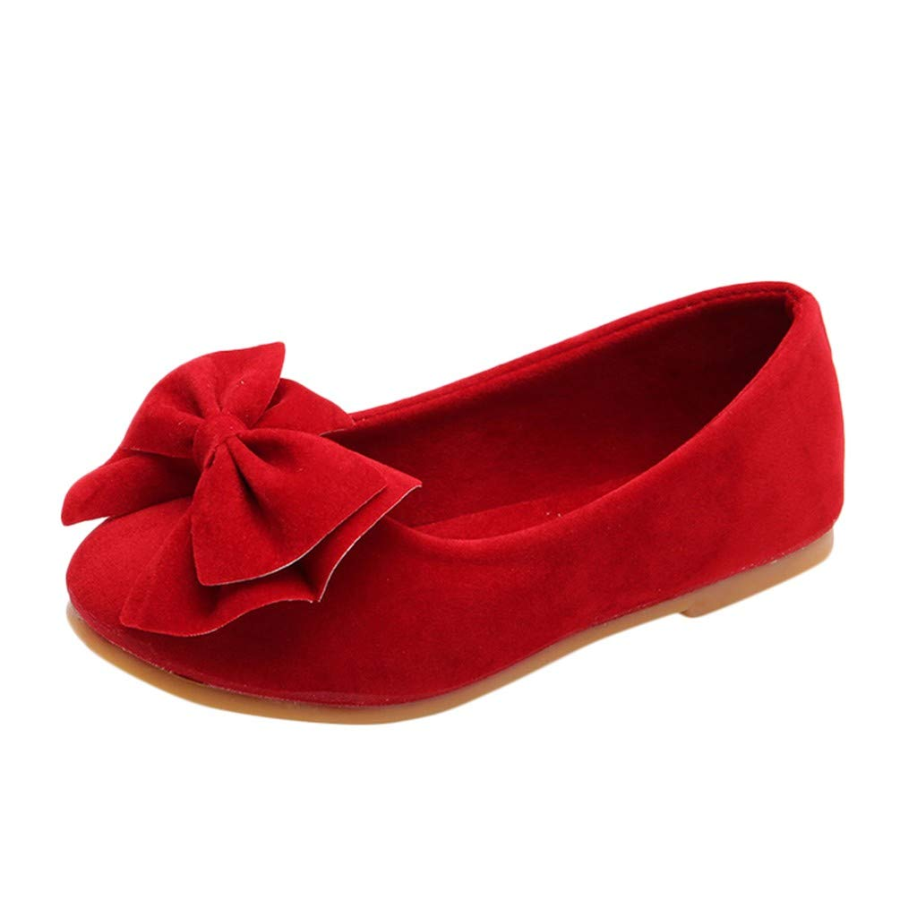 Shallow Mouth Beanie Shoes Children Girls Solid Bowknot Single Dance Princess Shoes
