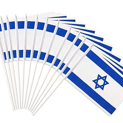 Anley Israel Stick Flag, Israeli 5x8 inch HandHeld Mini Flag With 12