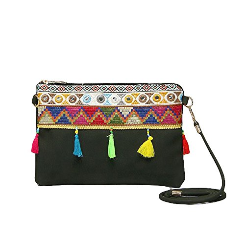 Boho Ladies Clutch Real Natural Leather Shoulder Bag with Tassels and Embroidery Adjustable Strap Bohemian Hippie Ethnic Purse (Black New)