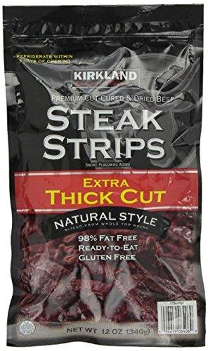 Kirkland Signature Steak Strips Extra Thick Cut, 12 Ounce (2 Bags, 24 Ounces Total)