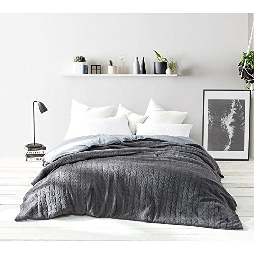 Textured Knit Twin Set (Byourbed BYB Granite Gray Cable Knit Comforter (Shams Not Included) Twin XL)