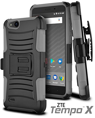 ble with ZTE Tempo X, ZTE N9137 [Ultra Rugged Hybrid] ((ShockProof)) Reinforced Bumper [Heavy Duty] Protection Kickstand [Locking Swivel Belt Clip Holster] (Gray) ()