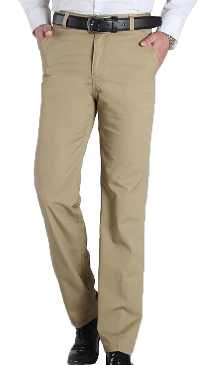 Insun Men's Casual Twill Straight Leg Relaxed Fit Flat Front Pants Beige