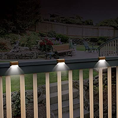 Ideaworks Solar Powered Deck Step Lights, 3 Pack Wall Mount Patio Rail Outdoor Lamp Light