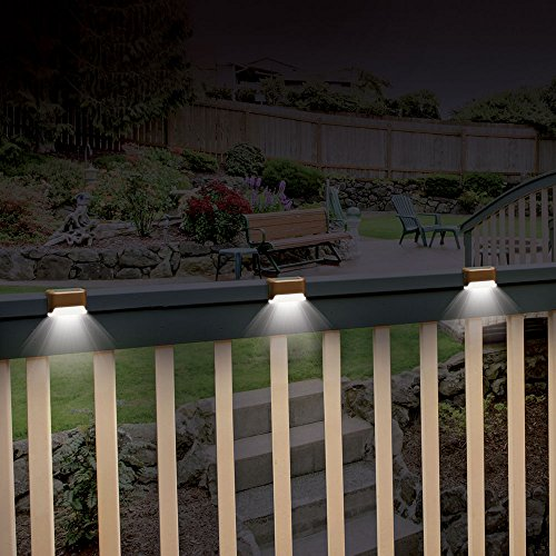 Solar Outdoor Patio Deck Lights: Ideaworks Solar Powered Deck Step Lights, 3 Pack Wall