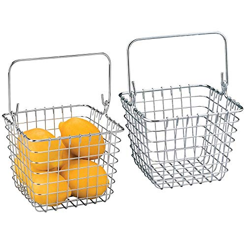mDesign Vintage Small Metal Wire Storage Organizer Tote Basket with Handle for Kitchen, Pantry, Gift Bathroom 7