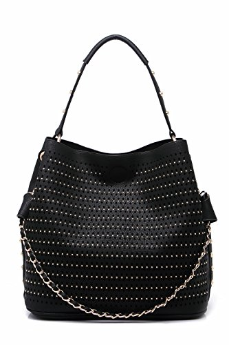 MKF Collection Miranda Perforated Hobo Handbags by Mia K. Farrow (Black) (Chain Mia Bag)