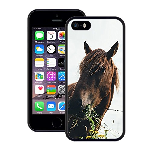 Pferd | Handgefertigt | iPhone 5 5s SE | Schwarze Hülle