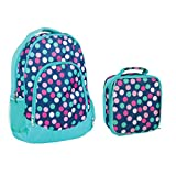 Reinforced Water Resistant School Backpack and Insulated Lunch Bag Set - Teal Navy