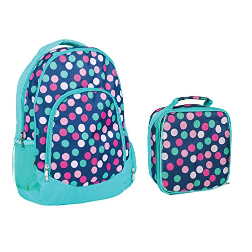 Reinforced Water Resistant School Backpack and Insulated Lunch Bag Set - Teal Navy Party Polka Dot -