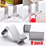 GreatforU Stainless Steel Hook Hanging Hooks Hangers for Bathroom, Bedroom, Office and Kitchen - Ideal for Pots, Pans, Spoons & Other Kitchen Essentials (H-8pack Z-shaped)