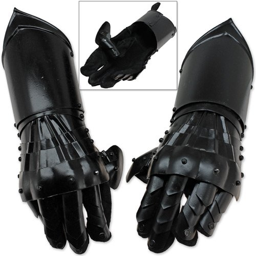 Undead Medieval Conquest Armor Gauntlets of Dexterity Night Warrior Black - 18G Functional Carbon Steel -