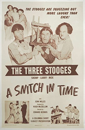 The Three Stooges - A Snitch in Time Original Movie Poster. 1950. Linen Backed