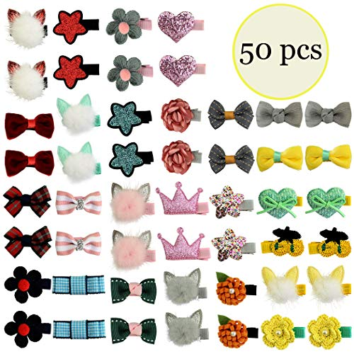 Mini Chiffon Bow - 50pcs/lot Mini Cute Kids Baby Girls Hair Bow Clips Toddler Infant Chiffon Bowknot Fully Lined Hair Clips Hair Accessories for Baby Girls Infants Toddler 25 Colors in Pairs