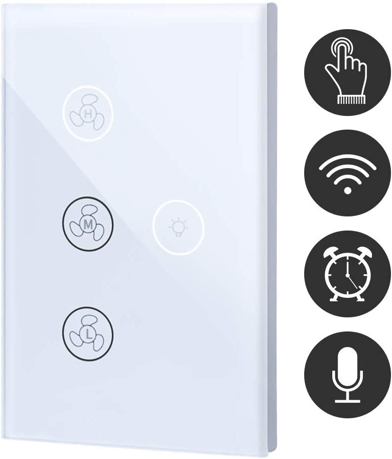 WiFi Fan Touch Switch Lamp Smart Switch Compatible with Alexa and Google Home
