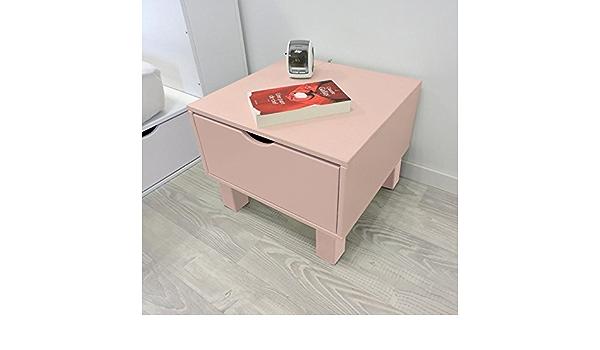 Mesita de noche cubo y cajón, color rosa Pastel: Amazon.es: Hogar