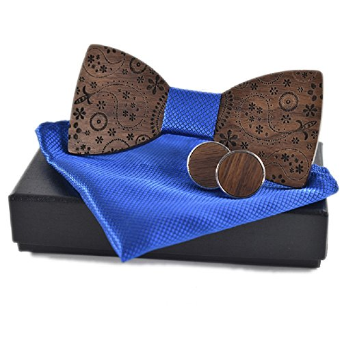 Amzchoice Classic Handmade Mens Wood Bow Tie with Matching Pocket Square and Mens Cufflinks Set