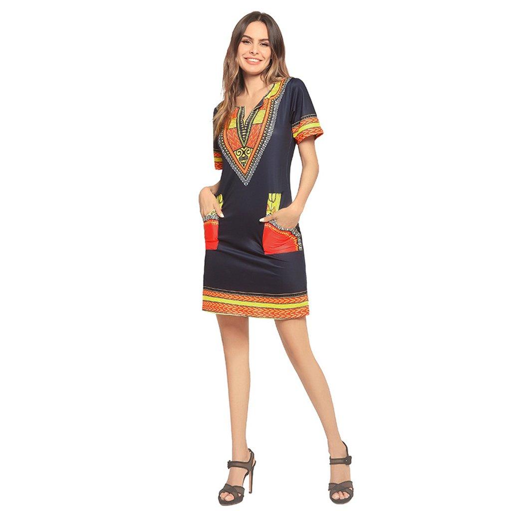 61715a45c6c9 Pocket Sexy Wang Printing Da Donna V Vestiti Estivi Collar Abiti l1J3FKcT
