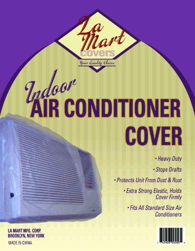 Indoor Vinyl Window Air Conditioner Cover w Elastic Edges (Clear Plastic)