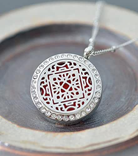 "Aromatherapy Necklace -Mandala Design with Crystals -Essential Oils Diffuser Jewelry 25mm Diameter Surgical Stainless Steel Locket/ Pendant w/ 24"" Chain+17 Aromatherapy Refill Pads -in Silver Color"