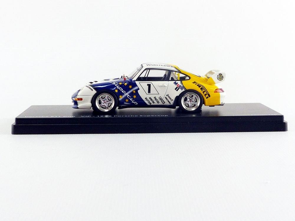 Schuco Dickie 450888200 - Porsche 911 Cup, Start Número 1, tipo 993, VIP 1996 Porsche Super Cup, Resin, escala 1: 43, color blanco/azul/amarillo: Amazon.es: ...