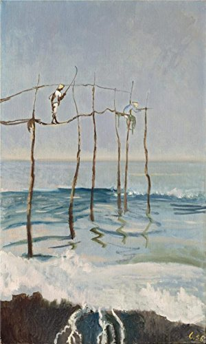[Oil Painting 'Leonid Berman,Angling At Tiba,1956', 24 x 40 inch / 61 x 102 cm , on High Definition HD canvas prints is for Gifts And Kitchen, Laundry Room And Nursery Decoration,] (Costume Design For Film Courses)
