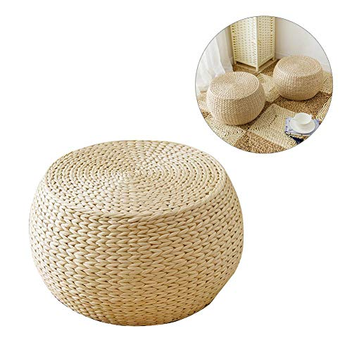 IMSHI Japanese Tatami Padded Knitted Straw Flat Seat Cushion -Handcrafted Eco-Friendly Breathable Padded Knitted Straw Flat Seat Cushion/Straw futon Cushion - Floor Mat for Zen,Yoga Practice